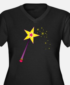 Magic Wand Women's Plus Size Dark V-Neck T-Shirt