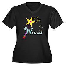 W is for Wan Women's Plus Size Dark V-Neck T-Shirt
