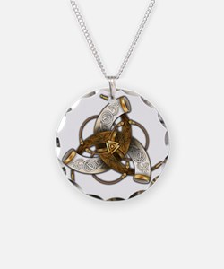 Odins Triple Horns Necklace Circle Charm