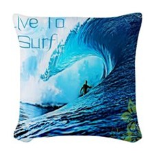 Live To Surf Woven Throw Pillow