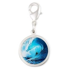 Live To Surf Silver Round Charm