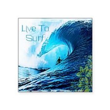"Live To Surf Square Sticker 3"" x 3"""