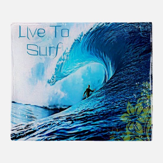 Live To Surf Throw Blanket