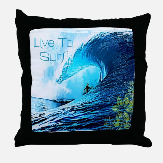 Live To Surf Throw Pillow