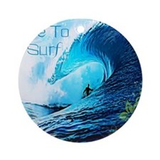 Live To Surf Round Ornament