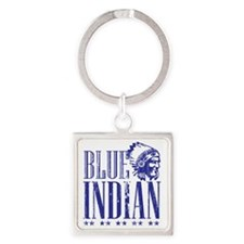 Blue Indian Head Dress Vintage Square Keychain