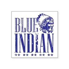 "Blue Indian Head Dress Vint Square Sticker 3"" x 3"""
