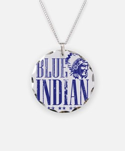 Blue Indian Head Dress Vinta Necklace