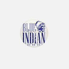 Blue Indian Head Dress Vintage Mini Button