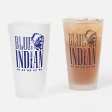 Blue Indian Head Dress Vintage Drinking Glass