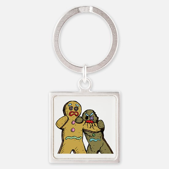 Gingerbread Zombies Square Keychain