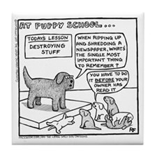 Puppy School Tile Coaster