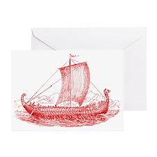 Cool Vintage Viking Ship Design Greeting Card