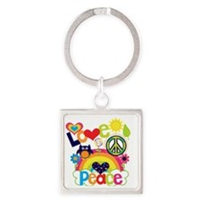 Love and Peace Square Keychain