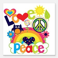 """Love and Peace Square Car Magnet 3"""" x 3"""""""