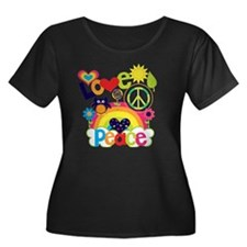 Love and Women's Plus Size Dark Scoop Neck T-Shirt