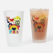 Love and Peace Drinking Glass