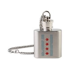 Chicago Flag Distressed Flask Necklace