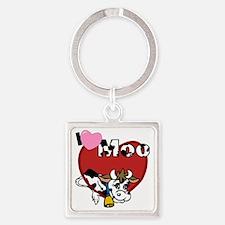 I Love Moo Square Keychain
