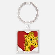 Giraffe Valentine Square Keychain