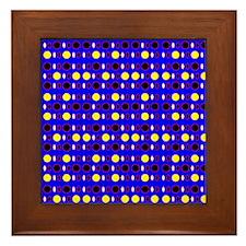 Blue Ebony Yellow Shapes Designer Framed Tile