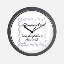 Affenpinscher Pawprints Wall Clock