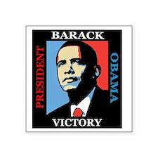 "Barack Obama Victory Square Sticker 3"" x 3"""
