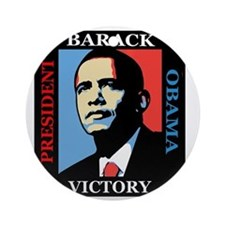 Barack Obama Victory Round Ornament
