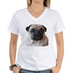 Women's Pug Love V-Neck T-Shirt