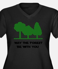 Forest Be Wi Women's Plus Size Dark V-Neck T-Shirt