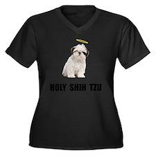 Holy Shih Tz Women's Plus Size Dark V-Neck T-Shirt
