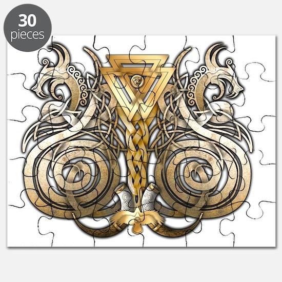 Norse Valknut Dragons Puzzle