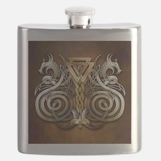 Norse Valknut Dragons Flask