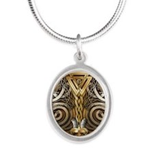 Norse Valknut Dragons Silver Oval Necklace