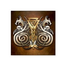 "Norse Valknut Dragons Square Sticker 3"" x 3"""