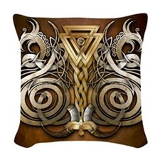 Norse Valknut Dragons Woven Throw Pillow