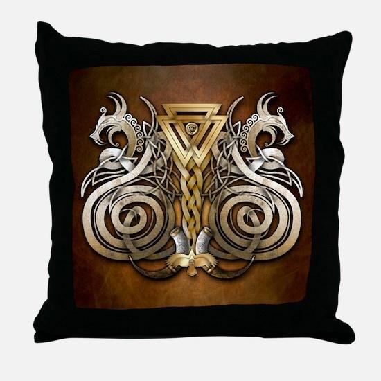 Norse Valknut Dragons Throw Pillow