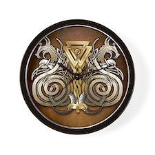 Norse Valknut Dragons Wall Clock