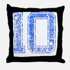 10, Blue, Vintage Throw Pillow
