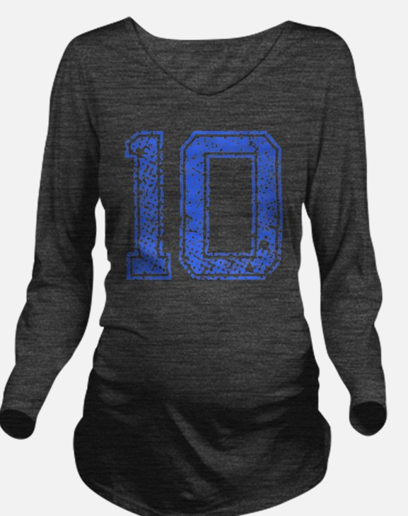 10, Blue, Vintage Long Sleeve Maternity T-Shirt