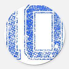 10, Blue, Vintage Round Car Magnet
