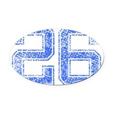 26, Blue, Vintage Oval Car Magnet
