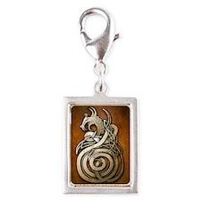 Norse Dragon Silver Portrait Charm