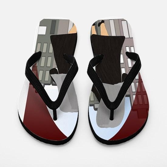 nuns 2 Burgandy Flip Flops