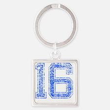 16, Blue, Vintage Square Keychain