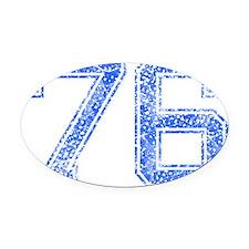 76, Blue, Vintage Oval Car Magnet