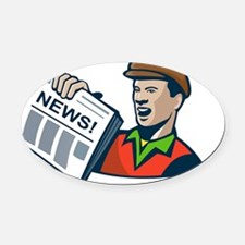 Newsboy Newspaper Delivery Retro Oval Car Magnet