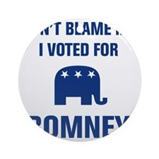 I Voted For Romney Round Ornament