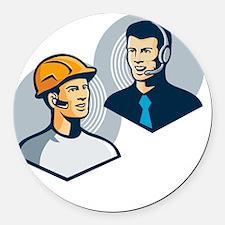 Construction Worker Telemarketer  Round Car Magnet