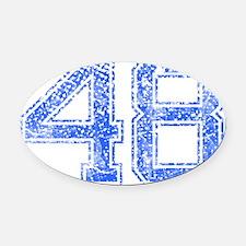 48, Blue, Vintage Oval Car Magnet